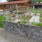 Gabionen Poolumrandung mit Steg und Grünfläche. Eine niedrige Steinmauer umfasst das Gelände.